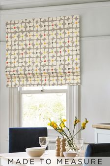 Retro Geo Flower Grey Made To Measure Roman Blind
