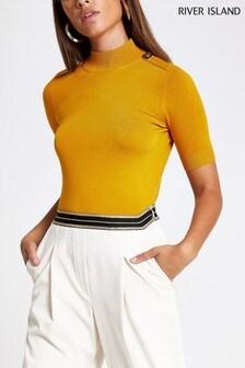 River Island Ochre Short Sleeve Rochelle Pearl T-Shirt