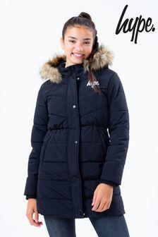 Hype. Black Puffer Parker Jacket