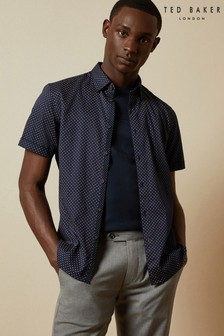 Ted Baker Blue Sortit Cotton Geo Print Shirt