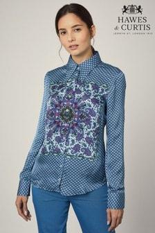 قميص مشجر Boutique Cleo أزرق من Hawes & Curtis
