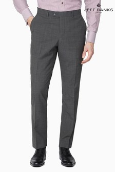 Jeff Banks Grey Plain Front Travel Suit Trousers
