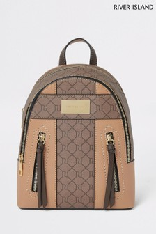 River Island Beige Monogram Backpack
