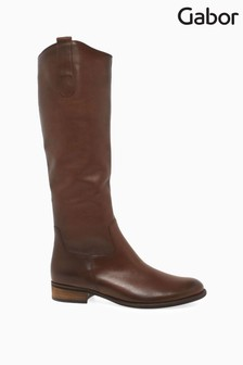 Gabor Brown Brook Slim Calf Fit Leather Long Leg Boots
