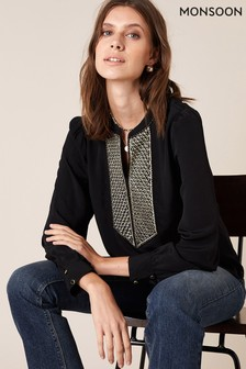 Monsoon Black Bib Embroidered Top