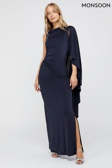 Monsoon Navy Ophelia One Shoulder Cape Maxi Jersey