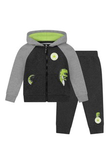 Boys Heather Black Cotton Tracksuit