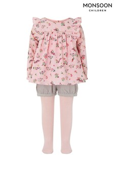 Monsoon Children Pink Baby Verana Bunny Three Piece Set