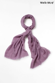 White Stuff Purple Glitter Texture Wool Scarf