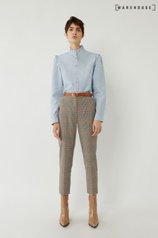 Warehouse Green Check Slim Leg Trousers
