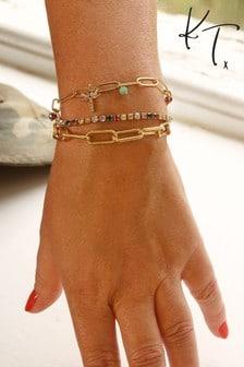 Kate Thornton 'Rainbow Tropics' Gold Triple Layered Bracelet