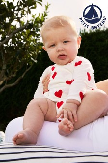 Petit Bateau White Hearts Long Sleeve Bodysuits 3 Pack