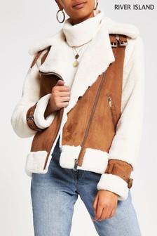 River Island Tan Maverick Shearling Aviator Jacket