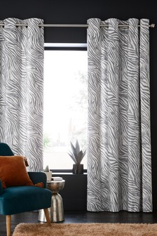 Zebra Print Eyelet Curtains