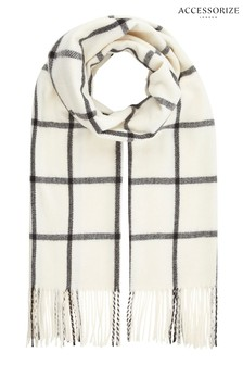 Accessorize White Carter Window Pane Check Scarf