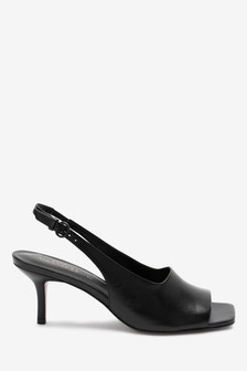 Signature Leather Peep Toe Slingbacks