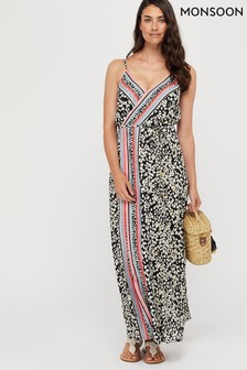Monsoon Black Grace Animal Print Wrap Dress