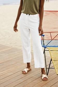 Linen Blend Crop Trousers