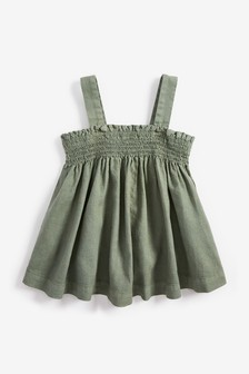 Linen Blend Ruched Sleeveless Top (3-16yrs)