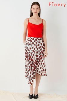 Finery London Red Casey Printed Bias Skirt
