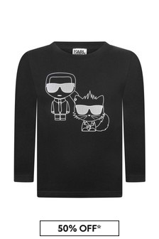 Boys Black Cotton Long Sleeve T-Shirt
