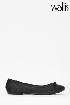 Wallis Berlin Black Textured Ballerinas With Trim
