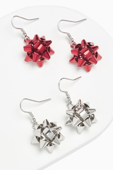 Christmas Bow Earrings 2 Pack