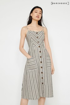 Warehouse Natural Chevron Button Midi Dress