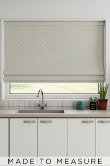 Country Geo Jacquard Grey Natural Made To Measure Roman Blind