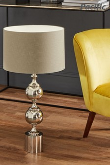 Asilah Silver Aluminium Tall Footed Table Lamp by Pacific Lifestyle