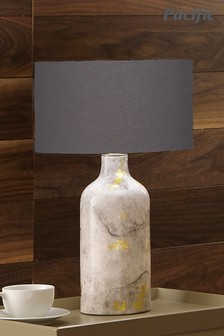 Keros Marble Effect Gold Leaf Glaze Stoneware Table Lamp by Pacific Lifestyle
