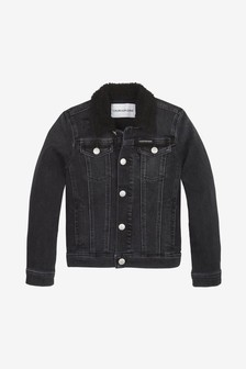 Calvin Klein Jeans Black Sherpa Lined Denim Trucker Jacket
