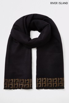 River Island Black With Embellished Trim Scarf