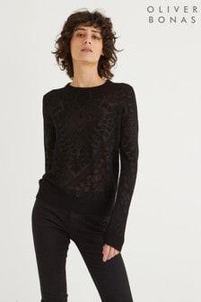 Oliver Bonas Burnout Black Knitted Jumper