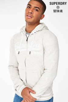 Superdry Oatmeal Embroidered Zip Through Hoody