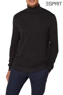 Esprit Grey Structured Cotton Roll Neck Sweater