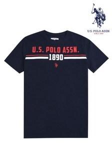 U.S. Polo Assn. Blue Tri-Stripe Goal T-Shirt