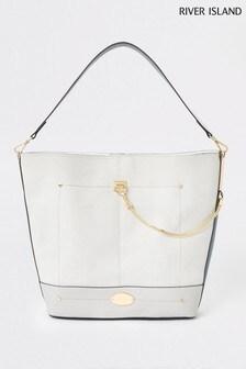 River Island Light Grey Chain Slouch Bag