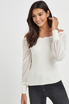 Woven Sleeve Off The Shoulder Top
