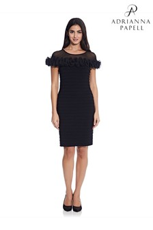 Adrianna Papell Black Matte Jersey Rosette Sheath Dress