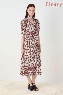 Finery London Red Claredon Printed Tie Daisy Dress