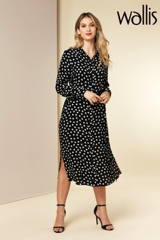 Wallis Black Polka Dot Midi Shirt Dress