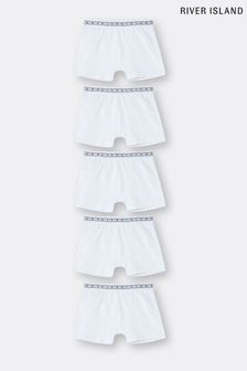River Island White Boxers 5 Pack