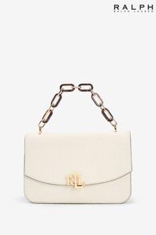 Ralph Lauren White Leather Monogram Madison Shoulder Bag
