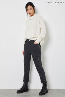 Mint Velvet Houston Grey Utility Jeans