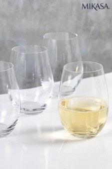 Set of 4 Mikasa Julie Stemless Wine Glasses