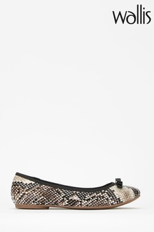 Wallis Berlin Animal Snake Textured Ballerinas With Trim