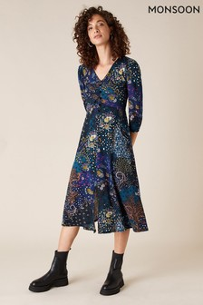 Monsoon Blue Printed Jersey Midi Dress With Organic Cotton