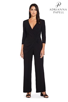 Adrianna Papell Black Jersey Long Sleeve Jumpsuit