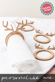 Personalised Stag Napkin Rings by Oakdene Designs